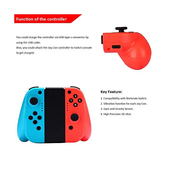 Wireless Joy Con Controller for Ninteodo Switch, CuleedTec Joy Pad Controllers (L/R) with Gyro and Gravity for Switch as… 7