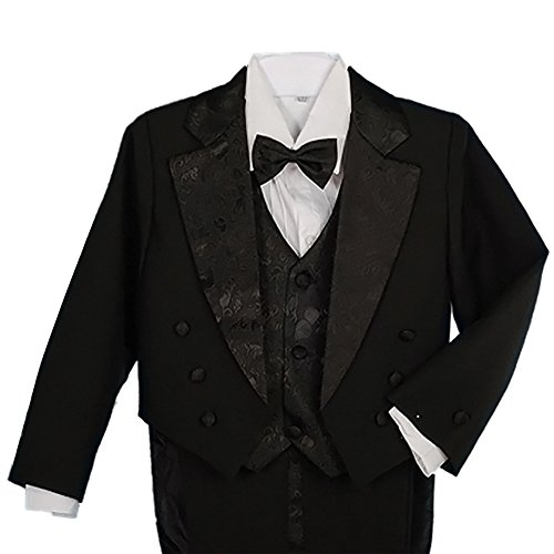 Dressy Daisy Baby Boys' Classic Fit Tuxedo Suit with Tail 5 Pcs Set Formal Suits Wedding Outfit Size 18-24 Months Black (Five Piece Set Tuxedo)