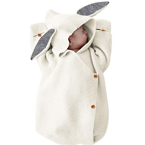 Edging Blanket Baby Crochet (Baby Sleep Bag Baby Knit Bunny Newborn Sleeping Bag Holding Blanket,White)