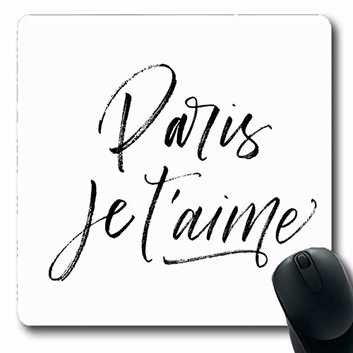Ahawoso Mousepad Oblong 7.9x9.8 French Paris Je Taime Love Abstract Greeting Inspiration Drawn Word Script Letter Ink France Romantic Non-Slip Rubber Mouse Pad Office Computer Laptop Game Mat
