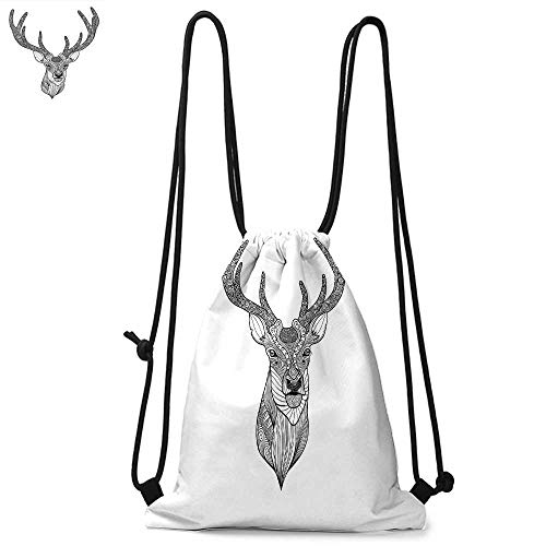 (Antlers Decor Printed drawstring backpack Patterned Deer Head with Big Antlers Ornamental Monochromic Illustration Suitable for school or travel W13.8 x L17.7 Inch )