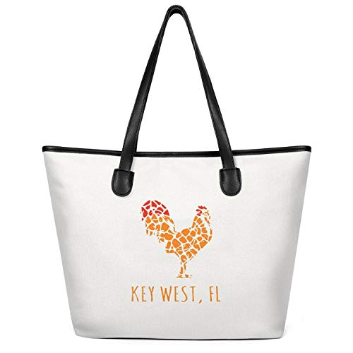 Women Key-west-island-florida-rooster- Canvas Tote Shoulder Handbag Large Capacity Tote Foldable Zippered Tote Creamy-White]()