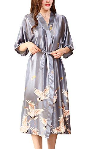 damigella Dolamen di Accappatoio amp; Pigiama di Kimono nuovo seta Pigiama fiori Robe Gru Donna Raso 2018 da Vestaglia lungo stile stile e Argento notte d'onore Sleepwear del rp6rq