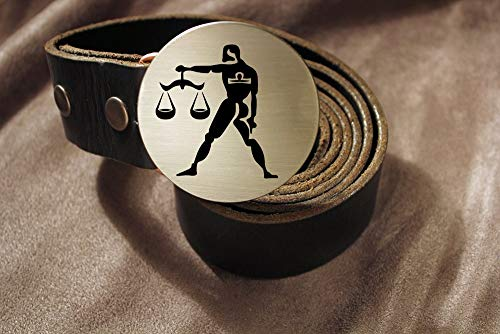 Libra Belt Buckle ZODIAC Etched Metal