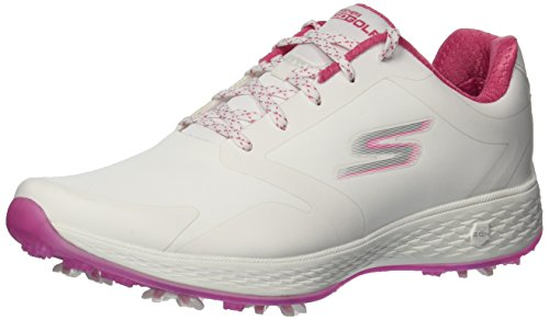 Skechers Performance Women's Go Pro Golf-Shoes,White/Pink,9 M US