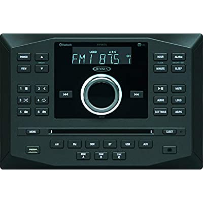Jensen JWM62A AM|FM|DVD|CD|USB|AUX|App Ready Bluetooth Wallmount Stereo w/App Control, 3-Speaker Zones / 8 Speaker Output 8X 6 Watt, Receives Bluetooth Audio (A2DP) & Controls (AVRCP) from Devices: Car Electronics