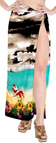 LA LEELA Soft Light Swimwear Aloha Wrap Women Sarong Digital 78''X39'' Black_3235 by LA LEELA