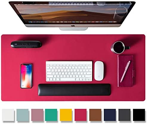 """Leather Desk Pad Protector,Mouse Pad,Office Desk Mat, Non-Slip PU Leather Desk Blotter,Laptop Desk Pad,Waterproof Desk Writing Pad for Office and Home (31.5"""" x 15.7"""", Rose Red)"""