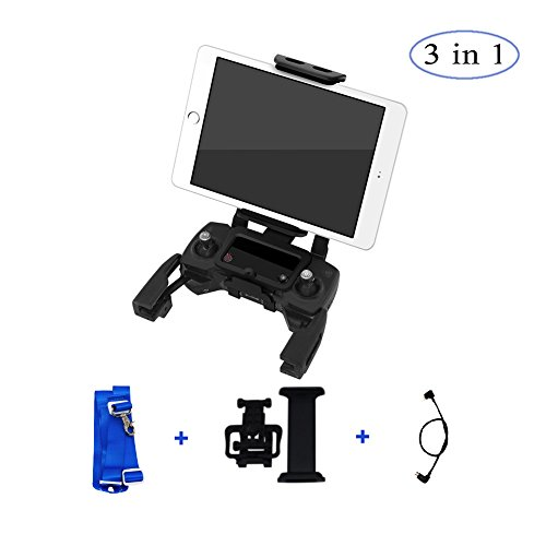 Price comparison product image Foldable Tablet Ipad Extended Front Holder Mount with Lanyard and Lightning Micro USB Cable for DJI Mavic Pro Platinum Alpine White AIR Spark Remote Controller