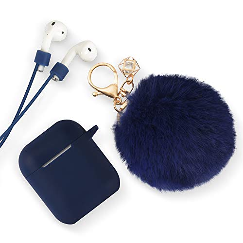 ODUMDUM Apple AirPods Case, Cute Case Drop Proof (Silicone Skin and Cover) with Fluffy Fur Ball Keychain and Anti-Lost Strap for Apple Wireless Headset, Gift for Girls, Lady, Dark Blue