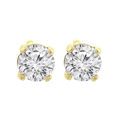 1.50 ct tw G VS1 Natural Round Diamond Studs 14K Gold Screw Back by Glitz Design