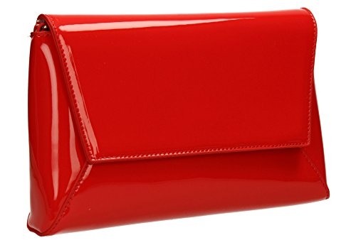 Elise Wedding Womens Ladies Prom Party Bag SWANKYSWANS Night Celebrity Out Red Leather Clutch Patent X4xRnq4F