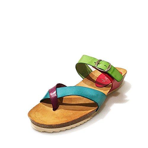 Sandalia Esclava multicolor. Planta Bio. Talla 40