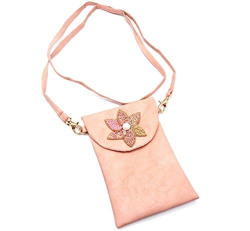 Rocaille Fleur Simili avec Pétales Bandoulière Mini Sac Oh Shop Rose Perles My Cuir Pochette PCH39 nqC6pPx