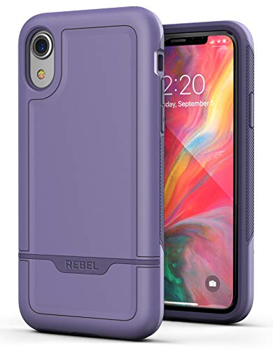 Encased Heavy Duty Case for iPhone XR Purple (2018 Rebel Armor) Military Grade Protective Cover (Full Body Protection) (Otterbox Iphone 5 Body Armor)