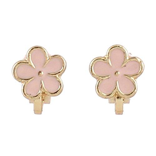 Grace Jun Enamel Flower Clip on Earrings Without Piercing for Girl's Kids Bijouterie (Pink flower) Pink Enamel Flower Earrings