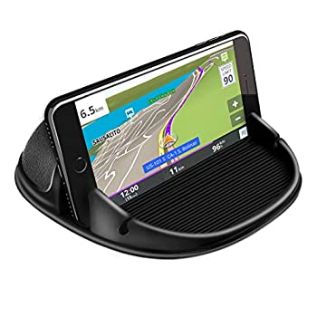 Loncaster Automobile Cellphone Holder, Automobile Cellphone Mount Silicone Automobile Pad Mat for Varied Dashboards, Slip Free Desk Cellphone Stand Appropriate with iPhone, Samsung, Android Smartphones, GPS Gadgets and Extra, Black