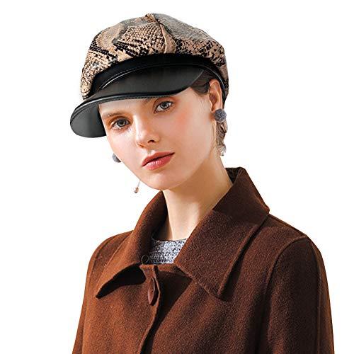 DOCILA Snakeskin PU Leather Newsboy Hats Vintage Animal Print Winter Visor Beret