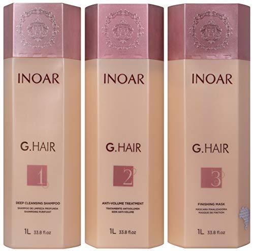 INOAR PROFESSIONAL - G-Hair Keratin Smoothing System with Deep Cleansing Shampoo, Anti-Volume Treatment & Finishing Mask (33.8 fl. oz.)