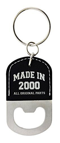 18th Birthday Gifts for Men Made 2000 18th Birthday Gift Ideas Leather Bottle Opener Keychain Key Tag Black ()