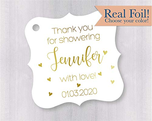 Thanks for showering with love, Bridal Shower Favor Tags, Baby Shower Favor Hang Tags -