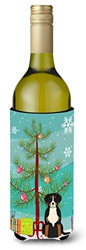 Caroline's Treasures BB4162LITERK Merry Christmas Tree Greater Swiss Mountain Dog Wine Bottle Beverage Insulator Hugger, 750ml, Multicolor