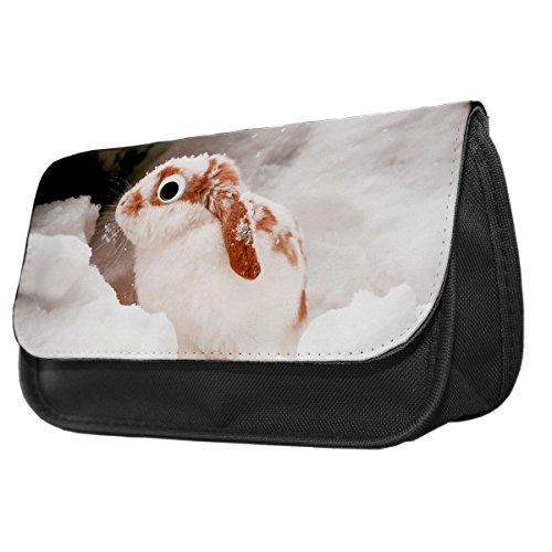 Weiß Kaninchen Googley Augen Tier Bleistift Fall/Make-up Tasche 320