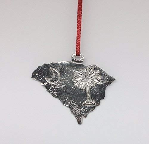 667 South Carolina SC State Outline Ornament Pewter -
