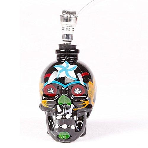 B-boger Stained Skull Glass Hookah Shisha Pipe(Black)