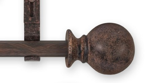 Source Global Unique 98-Inch to 144-Inch Adjustable Curtain Rod Sets, Ball Style, Brown ()