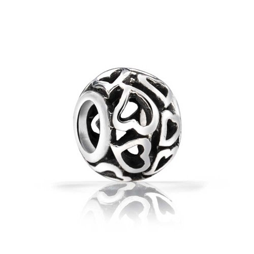 [Bling Jewelry Filigree Open Heart Bead Sterling Silver Fits Pandora Charms] (Mom Open Heart Charm)