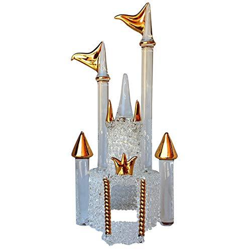 Hand Blown Glass Castle Wedding Cake Topper Gold -