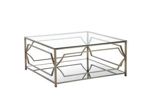 Pangea Home Z SQ CT Brass Edward Square Coffee Table (Coffee Brass Table Square)