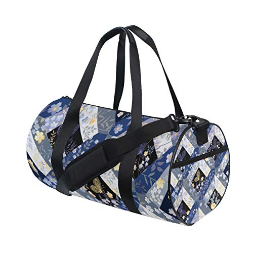 ALLMILL Lightweight Duffle bag Seamless Patchwork Pattern Butterfly Gym bags Oversize Sports bags weekend Overnight Travel handbag for men women student