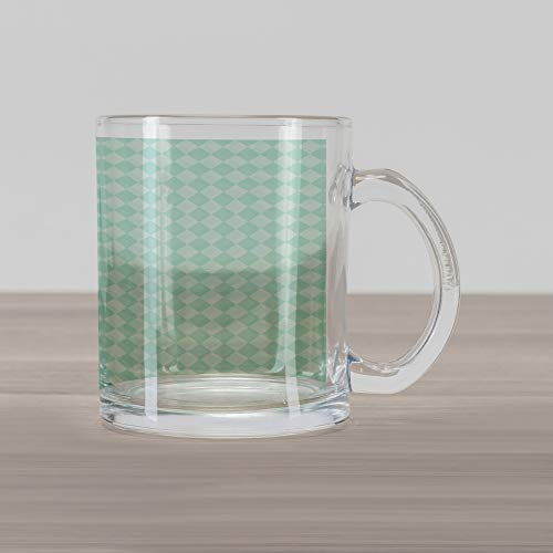 Lunarable Argyle Glass Mug, Soft Toned Pastel Diamond Shapes with Old Fashioned Vintage Argyle Motif, Printed Clear Glass Coffee Mug Cup for Beverages Water Tea Drinks, Mint Green and Seafoam