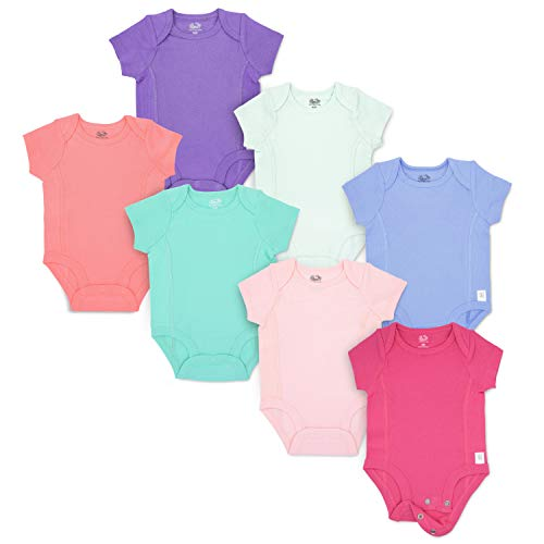 (Fruit of the Loom Baby 7-Pack Short-Sleeve Grow & Fit Bodysuits - Unisex, Girls, Boys (6-12 Months, Pink, Multi))