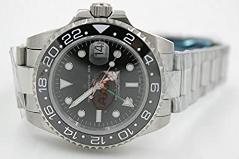 My_TimeZone sLuxury Top Brand best swiss Automatic movement white gold color black ceramic bezel sapphire glass high quality stainless steel watch (Rolex Color)