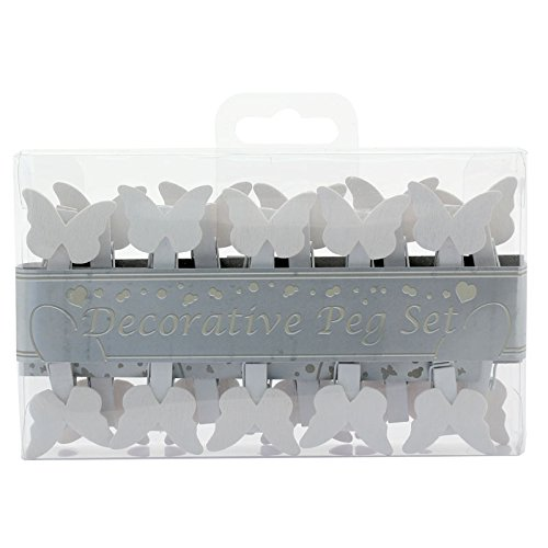 (APAC Pack of 20 White Butterfly Pegs)