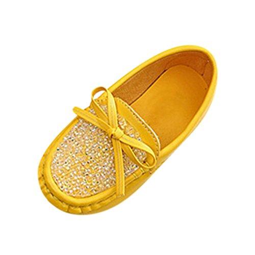 Clode® Kleinkind Baby nette Bowknot weiche runde beiläufige Erbsen flache Schuhe Gelb
