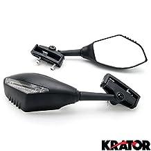 Motorcycle Mirrors w/ LED Turn Signals Indicators For Kawasaki Ninja EX 500 500R