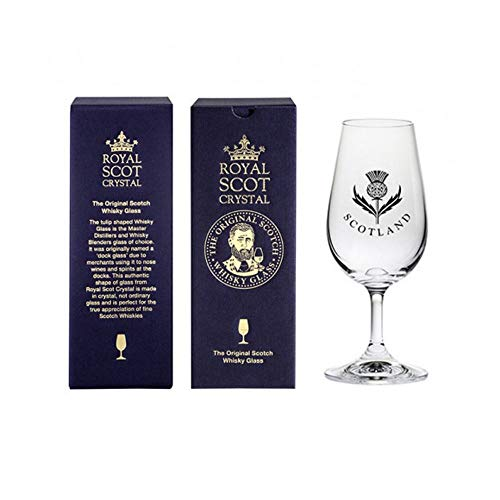 Royal Scot Crystal Stemmed Scottish Whisky Glass 7oz with Thistle Design | Whisky Dram Tasting Glass