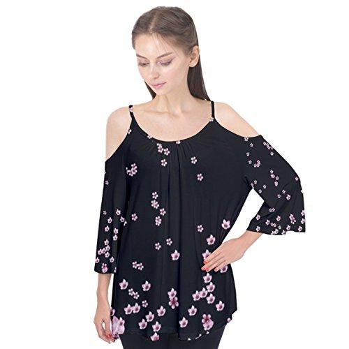 PattyCandy Womens Dark Pink Sakura Blossom Night Cap Flutter Sleeve Tee - XL (Sleeve T-shirt Night Womens Cap)