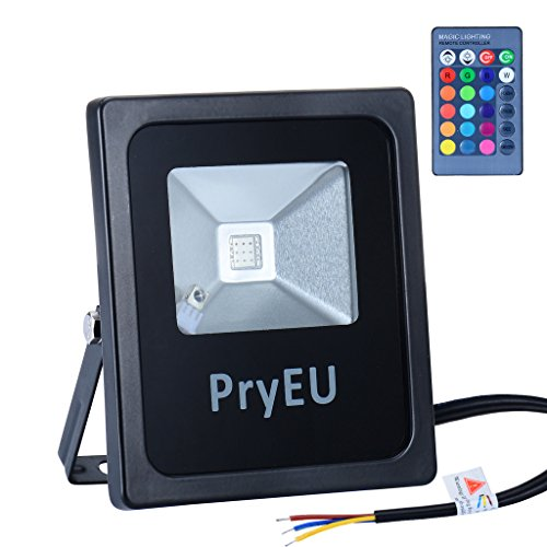 PryEU Foco proyector LED RGB 10W, cambio de 16 colores y 4 efectos de luz, Luces exterior IP66 impermeable con control remoto de IR para al aire ...