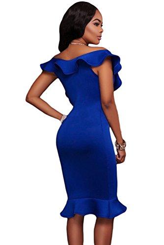 New Frau Royal Blau Rüschen Ausschnitt Mermaid Midi Kleid Büro Kleid ...