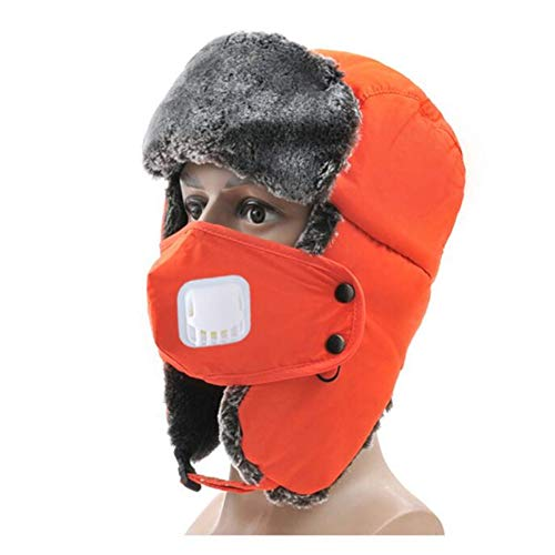 OUYAWEI Unisex Fashion Retro Soft Cotton-Padded Plush Cap Warm Earflaps with Breathable Mouth Face Cover