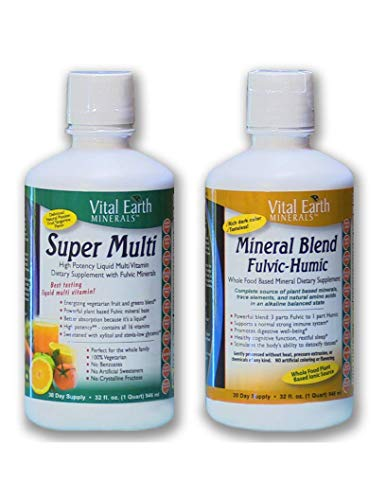Super Multi Liquid Vitamin & Mineral Blend Fulvic-Humic BUNDLE by, Vital Earth Minerals | 32 oz. Liquid - 30 Day Supply Each | High Potency - Sugar Free - Iron Free - Vegetarian