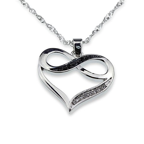 (Silver Tone Infinity Crystal Accent Heart Black White Pendant Necklace Girlfriend Valentine Mother Day Anniversary Gift Jewelry)