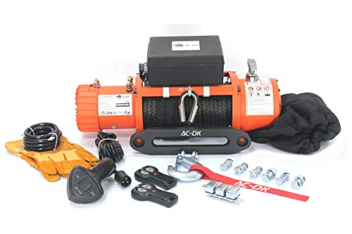 AC-DK 9500lbs Electric Winch Water Proof IP67 Recovery Winch 12V DC Orange Color Come with Overload Protection, Winch Dust Cover and 2 Wireless Remotes (9500lbs with Synthetic Rope)