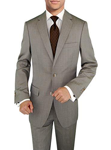 DTI BB Signature Italian Men's Wool Suit Set 3 Piece Jacket Pant Extra Trousers (54 Long US / 64L EU/W 48