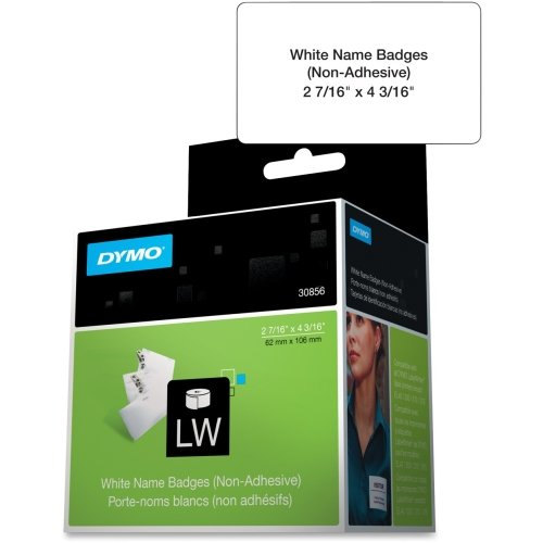 Badge Dymo Label Name (Dymo Non-Adhesive Name Badge Label - 2.44quot; Width x 4.19quot; Length - 250/Roll - Rectangle - 250/Roll - White)